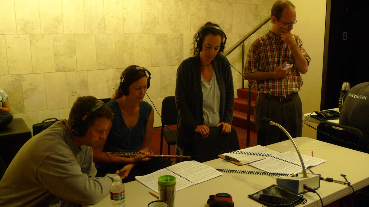 The Debussy Trio (David Walther, Angela Wiegand, Marcia Dickstein) with David Evan Thomas during playback session